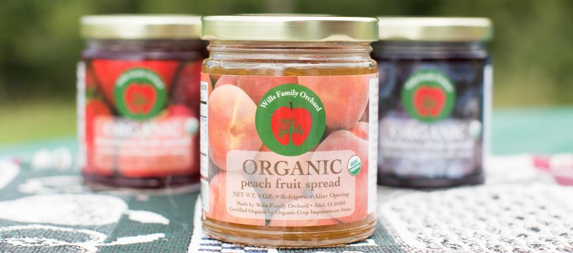 organic peach organic apple organic strawberry fruit spread iowa orchard