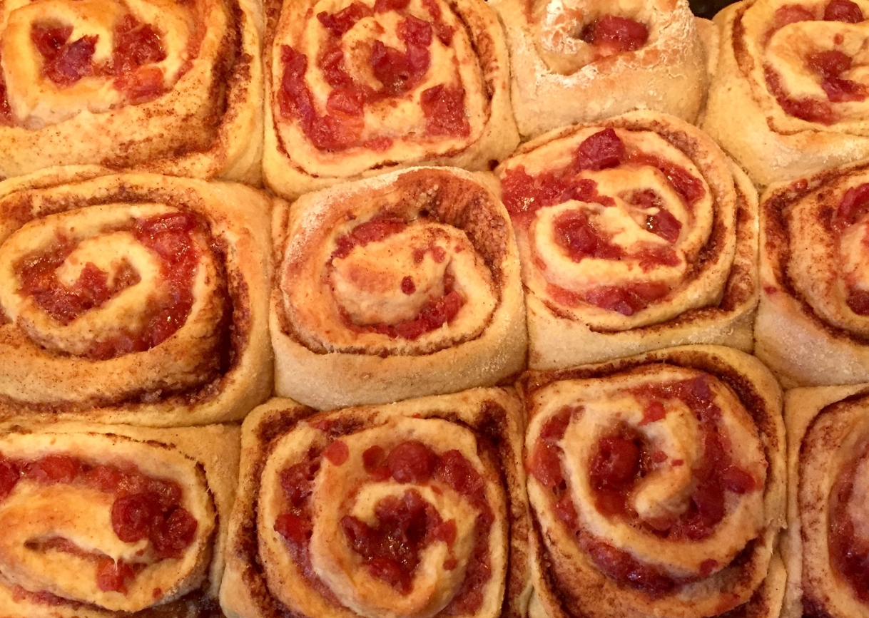 Homemade Sweet Rolls with Tart Cherry Filling